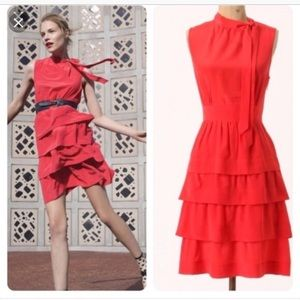 Anthropologie Girls from Savoy red silk oska dress